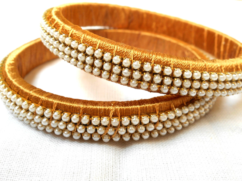 Indian Silk Thread Bangles Indian Gold Bangles Pearl