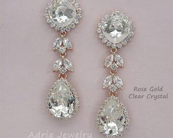 Rose Gold Wedding Earrings, Crystal Chandelier Earrings, Long Bridal Earrings, Statement Earrings, Swarovski Rhinestone Jewelry for Brides