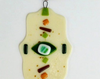 Israel, Glass Hamsa Mobile, Fusing glass, Israel art, Fatima's Hand,  Wall Home Decor