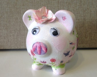 Sparkle the Tooth Fairy Piggy Bank, Decoupaged Coin Bank