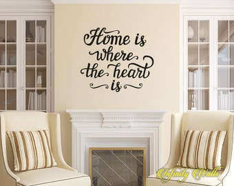 Home is Where the Heart is - Life Family Wall decal quote - Home Decor - Living Room Wall Sticker - Farmhouse Welcome - Front Door Decals -