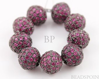 Pave Ruby Beads, Pave Ruby balls, Pave Beads, Ruby round beads, Round Beads ,Oxidized Silver, Pave Findings, Size 10 mm. (RB-BA10)