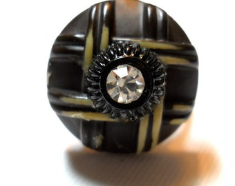 Button Ring Vintage Celluloid OOAK