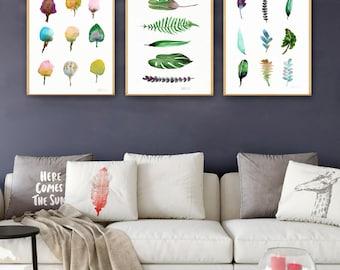 Minimalistische botanischen Blättern. Set aus 3 Blatt Kunst Drucke, moderne Aquarell Giclée-Wand-Kunst. Grüne Blätter, minimalistischen Druck. Aquarell Druck.