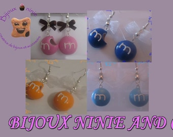 M and ms Fimo candy earrings