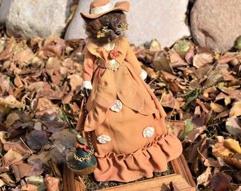 "Art Doll Sculpture,Taxidermy Mink Head Mixed Media assemblage,Ms. Erma Stoat & Pet Mr. Plumestion ,15"" tall,Leash,Cotton Spun Bird"
