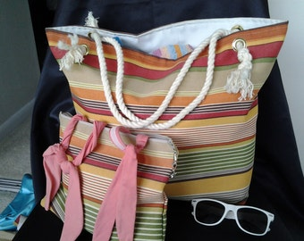 many colors striped Beach bag beach tote BBsCustomClutches vacation tote beach tote market bag  resort beach bag  orange beach bag