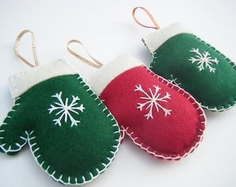Christmas Mitten Decoration, Felt Mitten Ornament, Felt Christmas Decoration