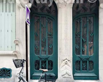 Paris Door Print, Teal, Green, Travel Gift, Art Nouveau Door, Architecture, Paris Photography Large Wall Art