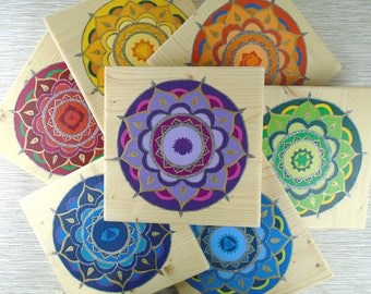 7 Chakra set wall art - Mandala wall art - Chakra art - Set of chakra paintings - Mandala paintings on wooden plaques - Spiritual wall decor
