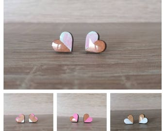 Heart stud, wood earrings, laser cut jewelry, Cute Stud Earrings , Gifts For Her, Bridesmaid Gift, mothers day