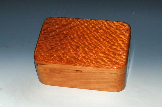 Wooden Box with Tray in Cherry and Lacewood - Desk Box, Handmade Wood Box,  Small Jewelry Box by BurlWoodBox- Wooden Box Lid - Wood Box Tray