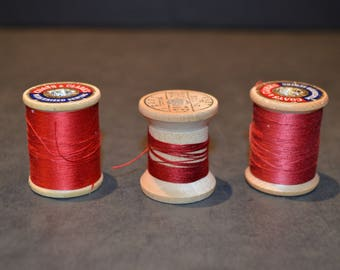Coats and Clark's Wood Spools with Red Thread