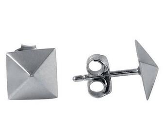 Pyramid Stud Earrings In Sterling Silver, Pyramid Studs, Pyramid Earrings, Pyramid Silver Stud Earrings