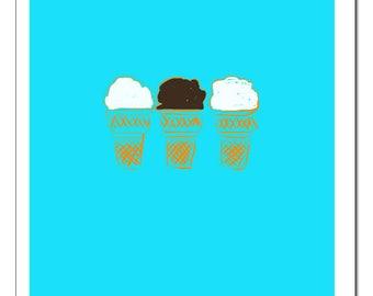 Three Ice Cream Cones Illustration-Pop Art Print