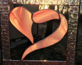 Contemporary Stained Glass Suncatcher Red Pink Heart Panel (PLG120)