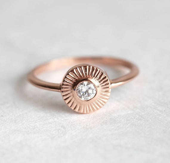 DIamond Sun Ring Diamond Ring Engagement Ring Circle