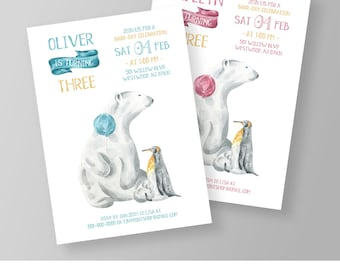 Winter Birthday Invitation Template | Printable Polar Bear Invite | Boy & Girl Birthday Party | Editable Template | Instant Download #026NBD