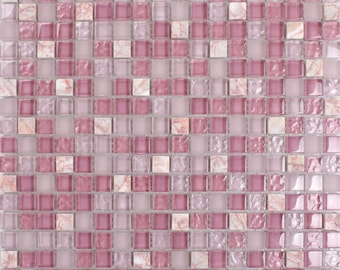 Light Purple Glass and Natural Stone Random Mixed Mosaic Glossy Bathroom Crystal Backsplash Cheap Floor and Wall Tiles
