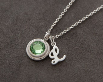 Silver Peridot Necklace, August Birthstone Jewelry, Swarovski Crystal Necklace with Initial, Personalized Birthstone Jewelry