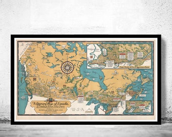 Old Map of Canada Antique North America 1936 Vintage