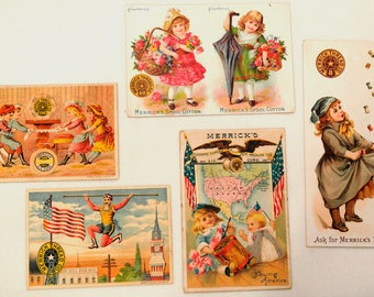 5 Vintage Trade Cards Advertising Merrick Thread