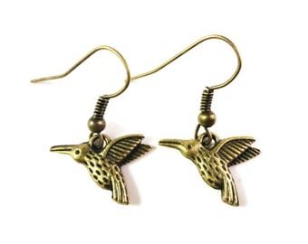 Hummingbird Earrings, Bronze Bird Earrings, Antique Brass Metal Charm Earrings, Dangle Earrings, Drop Earrings, Women's Affordable Jewelry