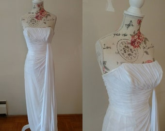 vintage 1950s white grecian formal or wedding gown by Emma Domb