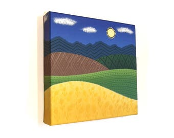 Original Art - Cultivation - acrylic painting of hilly fields with Ukrainian inspired geometric patterns. Square landscape canvas artwork