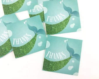 10 Stickers! Mermaid Party, Thank you sticker, party favors, glitter, birthday party, Set of 10