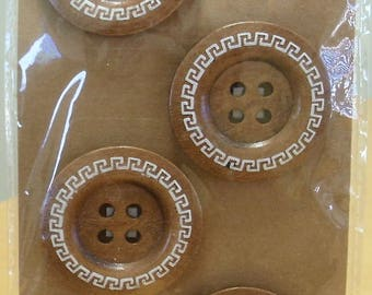 Set of 4 EXTRA LARGE wooden buttons with Greek key design