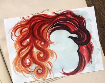 """Phoenix 5x7"""" Fine Art Quality Print from the Book, Myths of Legend."""