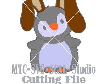 SVGCut File Penguin as Bunny Easter Embellishment  MTC SCAL Cricut Silhouette Cutting Files
