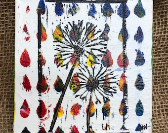"Multicolored dandelion Monoprint 6"" x 6"" canvas wall art. Mix and match, buy one get one FREE (SKU 1012)"