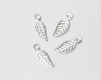 2599 925 Sterling silver charms 4.5x13 mm Delicate pendant Small leaf pendant Silver leaves Leaf charm Tiny charms Silver findings 6 pcs