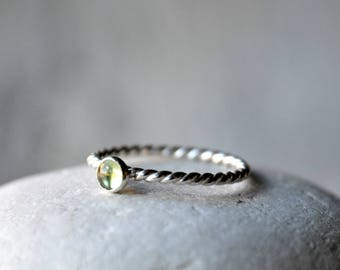 Sterling Silver Peridot Stacking Ring, patterned, rope, stackable 4mm cabochon, Made To Order