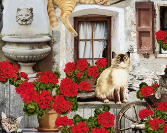 Front Porch Cats and Geraniums - Timeless Treasures - Half Yard