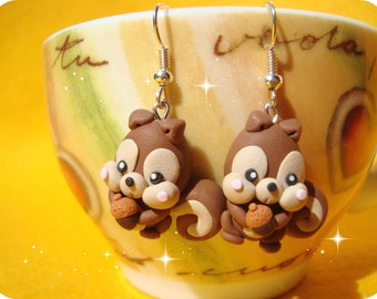 Sweet Kawaii Squirrel Earrings in the Forest Polymer Clay