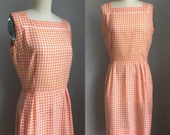 Vintage 1960's Cotton Orange Gingham Lace Trimmed Dress Size Medium