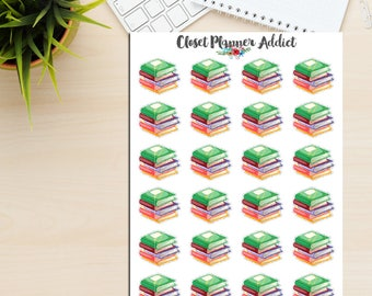 Books Planner Stickers   Stack of Books   Books Stickers   Currently Reading Stickers   Reading Stickers   Books To Read Stickers (S-252)