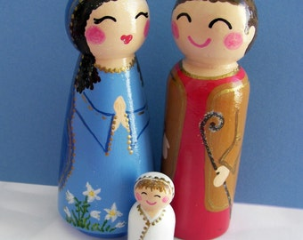 Hand Painted Love Boxes Nativity Holy Family Wood Peg Dolls