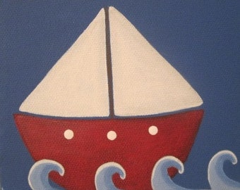 Sailboat Personalized Name Sign 4x12