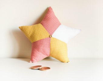 Cushion star yellow, pink and white - star cushion