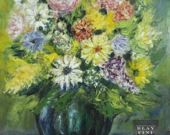 Original Oil Painting On Board 20th Century Impressionist Still Life Art Floral Flower Vase Vintage