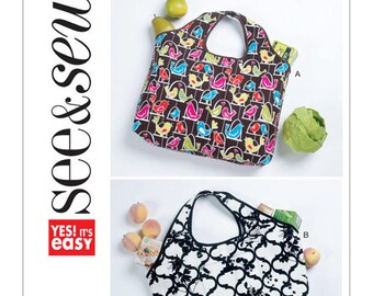 See and Sew B5635 Self-Storing Shopping Bags by Butterick