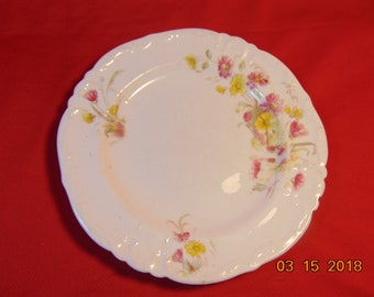 """Five (5), 7"""", Bone China,  Dessert/Salad Plates, from William A. Adderley and Co., in the Spray No. 58 Pattern."""