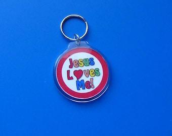 Jesus Loves Me Keychain Jesus Loves Me Keyring Colorful Christian Theme Keychain Jesus Loves Me
