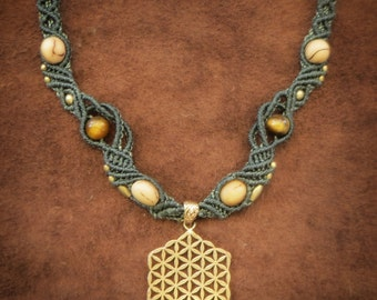 Flower of Life Tigereye Macrame Necklace Seeds Brass Tribal gold plated Pixie Tribal Magical Wanderer