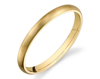14k Yellow Gold Band (2mm THIN) | PLAIN | Matte Brushed Rounded Dome + Comfort Fit | Men's Women's Wedding Ring Simple Thin