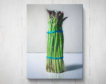 Bunch of Asparagus - Oil Painting Giclee Gallery Mounted Canvas Wall Art Print